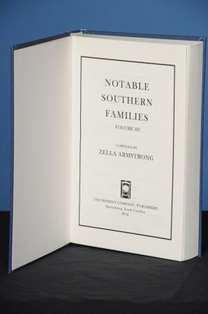 NOTABLE SOUTHERN FAMILIES, Vol. III. Zella Armstrong.