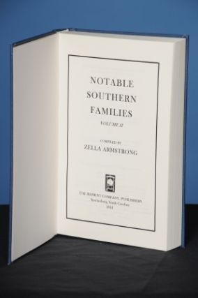 NOTABLE SOUTHERN FAMILIES, Vol. II. Zella Armstrong.